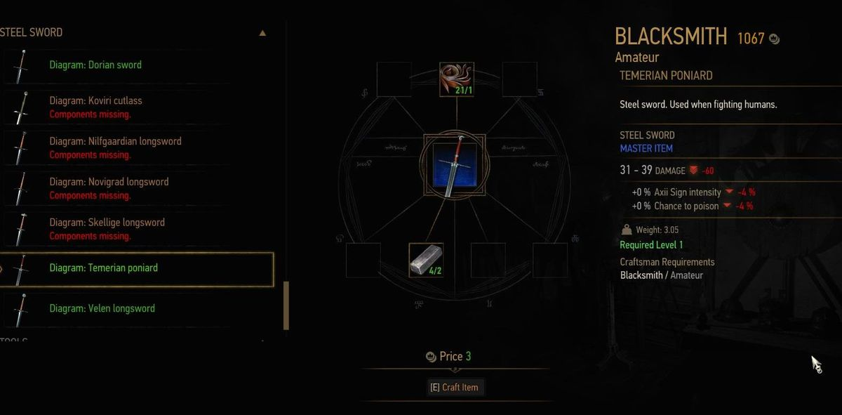 Witcher  Where To Pick Up Crafted Items
